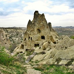 "Goreme in Cappadocia, Turkey is filled with rock formations that gave way to ""cave homes""."