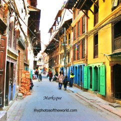 This photo is an area known as the Old Town in Patan, Nepal where one can find old houses and shops.