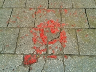 Known as Sarajevo Roses, this red resin are used to mark craters in pavements of Sarajevo where at least 3 people died