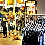 I believe he is a male dog because he looked so bored while the ladies were shopping