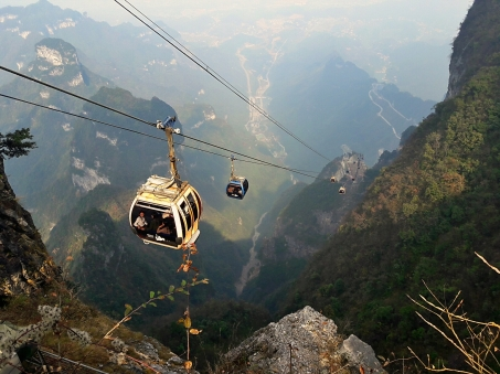 Tianzi Mountain cable car that goes all the way up to 2,270 feet