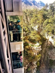 Glass elevator built onto the side of a mountain 1,070 feet high