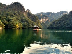 Baofeng Lake located on top of a mountain in the Wulingyuan Scenic are